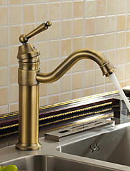 cheap -Antique Bar/­Prep Deck Mounted Ceramic Valve One Hole Single Handle One Hole Antique Brass, Kitchen faucet