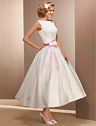 cheap -Princess Bateau Neck Tea Length Satin Custom Wedding Dresses with Sash / Ribbon by LAN TING BRIDE®