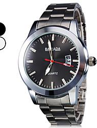 Männer Kalender Stil Legierung Analog Quarz-Armbanduhr (Silber)