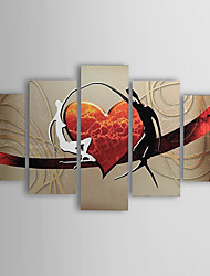 cheap -Oil Paintings Set of 5 Modern Abstract Lovers Heart  Hand-painted Canvas Ready to Hang