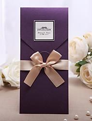 abordables -Format Enveloppe & Poche Invitations de mariage 20 - Cartes d'invitation Style classique Papier nacre 21.5*11.5cm Nœud