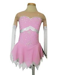 Women's Girls' Figure Skating Dress Ice Skating Dress Wearable Breathable Handmade Long Sleeves Indoor Performance Practise Skirt Dress