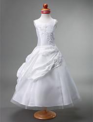 Ball Gown Tea Length Flower Girl Dress - Tulle Sleeveless Jewel Neck by LAN TING BRIDE®