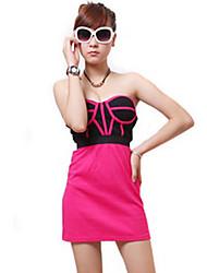 Zhi Yuan Sexy Stropløs Print Contrast Color Dress (Flere farver)