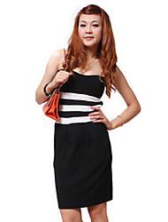 Zhi Yuan Stropløs backless Color Block Bodycon Dress