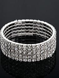 abordables -Bracelet Jonc Femme Multirang Clair Mode Multicouches Bracelet Bijoux Argent Forme de Cercle pour Mariage Fiançailles Cadeau