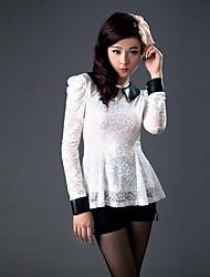 Zhi Yuan PU Læder Puff Sleeve Lace Shirt (Flere farver)