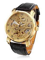 levne -WINNER Pánské mechanické hodinky Hodinky s lebkou Automatické natahování Voděodolné S dutým gravírováním PU Kapela Luxus Černá