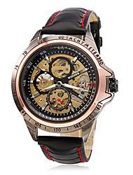 levne -WINNER Pánské mechanické hodinky Náramkové hodinky Automatické natahování S dutým gravírováním PU Kapela Přívěšky Černá