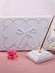 Guest Book Pen Set Satin Classic ThemeWithFaux Pearl Wedding Ceremony