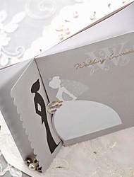 abordables -festoneado de plata borde novia& novio invitación de la boda -set de 50/20