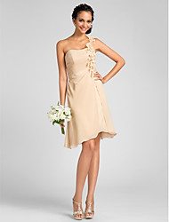 cheap -Sheath / Column One Shoulder Knee Length Chiffon Bridesmaid Dress with Flower(s) Side Draping by LAN TING BRIDE®