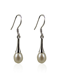 Lovely 925 Sterling Silver Pearl Drop Earrings Classical Feminine Style