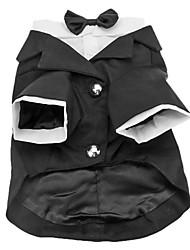 Cani Costumi Smoking Nero Abbigliamento per cani Inverno Primavera/Autunno Tinta unita Matrimonio Cosplay Compleanno