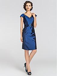 оболочка / колонка V-образным вырезом длина колена тафта мать платья невесты с кристаллами lan ting bride®