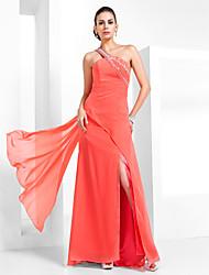 Bainha / coluna um ombro chão comprimento chiffon vestido de formatura com beading by ts couture®