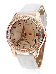 cheap -Women's Fashion Watch Quartz PU Band Analog Eiffel Tower White