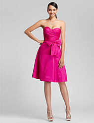 A-Line Princess Strapless Sweetheart Knee Length Taffeta Bridesmaid Dress with Bow(s) Side Draping by LAN TING BRIDE®