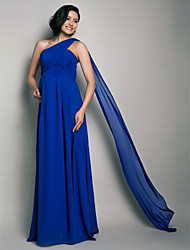 Sheath / Column One Shoulder Floor Length Watteau Train Chiffon Formal Evening Wedding Party Dress with Draping Criss Cross by TS Couture®