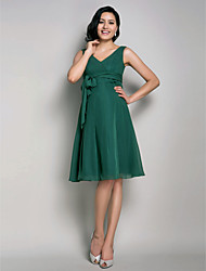 A-Line Princess V-neck Knee Length Chiffon Bridesmaid Dress with Sash / Ribbon by LAN TING BRIDE®