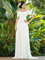 cheap -Sheath / Column Off Shoulder Sweep / Brush Train Chiffon Made-To-Measure Wedding Dresses with Beading / Ruched / Flower by LAN TING BRIDE®