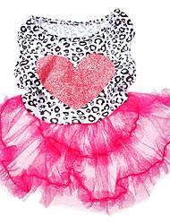 Chien Robe Vêtements pour Chien Mode Cœur Rose Costume Pour les animaux domestiques