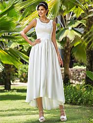 abordables -Trapèze Princesse Asymétrique Satin Robe de mariée avec Billes Appliques Poche par LAN TING BRIDE®