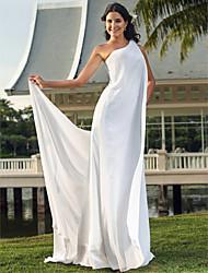 Eng anliegend Ein-Schulter Boden-Länge Chiffon Hochzeitskleid mit Blume durch LAN TING BRIDE®