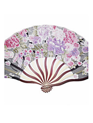 cheap -Beautiful Wood And Silk Hand Fan - Set of 4(Mixed Colors) Wedding Favors