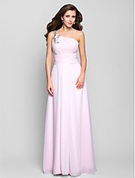 cheap -A-Line One Shoulder Floor Length Chiffon Prom Formal Evening Military Ball Dress with Beading Draping Side Draping by TS Couture®