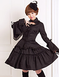 Outfits Gothic Lolita Cosplay Lolita Dress Solid Black Flare Collared Long Blouse Knee-length Skirt Antique Outfit Blouse / Skirt For Women
