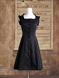cheap -One-Piece/Dress Classic/Traditional Lolita Lolita Cosplay Lolita Dress Black Solid Sleeveless Medium Length Dress For Women Cotton