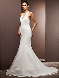 Mermaid / Trumpet Halter Court Train Lace Wedding Dress with Beading Appliques Criss-Cross by LAN TING BRIDE®
