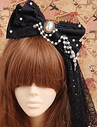 Jóias Gótica Decoração de Cabelo Princesa Vitoriano Homens Feminino Acessórios Lolita Laço Peça para Cabeça Algodão