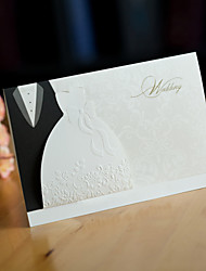 "cheap -Side Fold Wedding Invitations 50 - Invitation Cards Pearl Paper 6 ½""×4 ½"" (16.6*11.5cm) Ribbons"