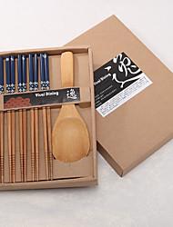 Недорогие -Набор простых бамбуковых посуды в подарочной коробке (больше цветов)