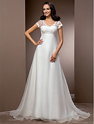 A-Line V-neck Court Train Lace Organza Wedding Dress with Beading by LAN TING BRIDE®