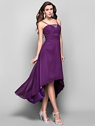 A-Line Princess Spaghetti Straps Tea Length Asymmetrical Chiffon Prom Dress with Crystal by TS Couture®