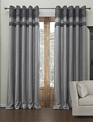 Two Panels Curtain Modern , Solid Living Room Poly / Cotton Blend Material Blackout Curtains Drapes Home Decoration For Window