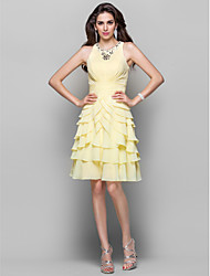 cheap -A-Line High Neck Knee Length Chiffon Cocktail Party Dress with Beading Ruched Cascading Ruffles by TS Couture®
