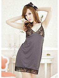 Women Babydoll & Slips Nightwear Striped Lace Others Satin Black