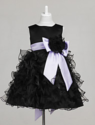 A-Line Ball Gown Princess Knee Length Flower Girl Dress - Tulle Sleeveless Jewel Neck with Bow