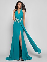 Sheath / Column Halter Sweep / Brush Train Chiffon Prom Dress with Beading by TS Couture®