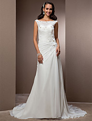 Sheath / Column Bateau Neck Court Train Chiffon Wedding Dress with Beading Appliques Button Criss-Cross by LAN TING BRIDE®