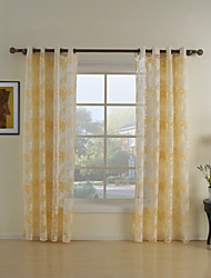 Rod Pocket Grommet Top Tab Top Double Pleat Two Panels Curtain Country Living Room Polyester Material Sheer Curtains Shades Home