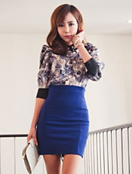 baratos -Mulheres Moda de Rua Saia & Vestido Saias - Sólido Cintura Alta