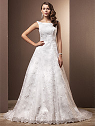 A-Line Scoop Neck Chapel Train Lace Wedding Dress with Lace by LAN TING BRIDE®