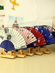 cheap -Elegant Floral Bamboo Hand Fan - Set of 4(Mixed Colors,Mixed Floral Pattern)
