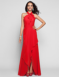 cheap -A-Line Princess Halter Asymmetrical Chiffon Prom Dress with Draping by TS Couture®