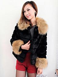 3/4 di manica colletto di pelliccia partito / Casual Jacket Faux (più colori)
